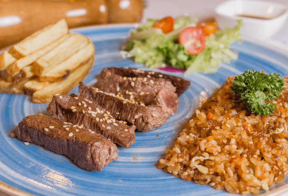fry rice and steak
